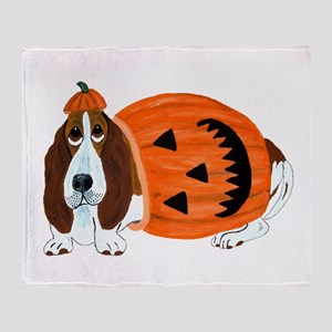 Basset Hound In Pumpkin Suit Throw Blanket
